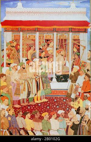 Shahab-ud-din Muhammad Khurram Shah Jahan I (1592 –1666), or Shah Jahan, from the Persian meaning 'king of the world', was the fifth Mughal ruler in India and a favourite of his legendary grandfather Akbar the Great.  He is best known for commissioning the 'Phadshahnamah' as a chronicle of his reign, and for the building of the Taj Mahal in Agra as a tomb for his wife, Mumtaz Mahal. Under Shah Jahan, the Mughal Empire attained its highest union of strength and magnificence, and his famous Peacock Throne was the wonder of all the European travelers and ambassadors. His political efforts encoura - Stock Photo