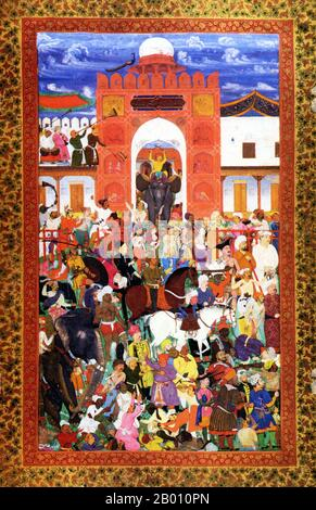 This painting was taken from a Muraqqa from Agra. A Muraqqa is an album of artwork which predominated in the 16th century in the Safavid, Mughal and Ottoman empires. The Muraqqa album consists of compilations of various fine arts, including Islamic calligraphy, Ottoman miniatures, paintings, drawings, ghazals and Persian poetry. This magnificent painting shows the emperor passing the coronation parade while one of his courtiers scatters gold coins to the crowd. Also depicted are musicians, trumpeters, mahouts on elephants, wrestlers, a poet, bodyguards, foreign envoys, falconers, soldiers, dan - Stock Photo