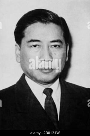 Ngo Dinh Diem (Vietnamese: Ngo Dinh Diem (January 3, 1901 – November 2, 1963) was the first President of South Vietnam (1955–1963). In the wake of the French withdrawal from Indochina as a result of the 1954 Geneva Accords, Diem led the effort to create the Republic of Vietnam. Accruing considerable US support due to his staunch anti-Communism, he achieved victory in a 1955 plebiscite that was widely considered fraudulent. Proclaiming himself the Republic's first President, he demonstrated considerable political skill in the consolidation of his power, and his rule proved authoritarian, elitis - Stock Photo