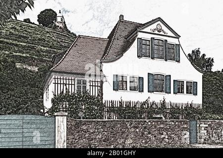 House Fliegenwedel, Am Jacobstein 40, is a listed building and Baroque winegrower's House, Radebeul, Saxony, Germany, Europe - Stock Photo