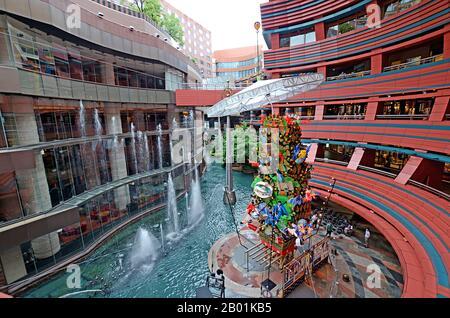 Fukuoka, Japan - July 7, 2015: The central fountain in Canal City Hakata mall - Stock Photo