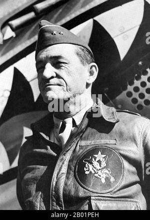 Lieutenant General Claire Lee Chennault (September 6, 1893 – July 27, 1958), was an American military aviator. A contentious officer, he was a fierce advocate of fight-interceptor aircraft during the 1930s when the U.S. Army Air Corps was focused primarily on high-altitude bombardment. Chennault retired in 1937, went to work as an aviation trainer and adviser in China, and commanded the 'Flying Tigers' during World War II, both the volunteer group and the uniformed units that replaced it in 1942. - Stock Photo