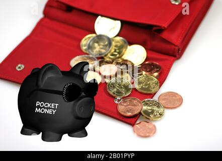 black piggy bank with sunglasses and lettering Poket Money, wallet with cash in background, composing - Stock Photo