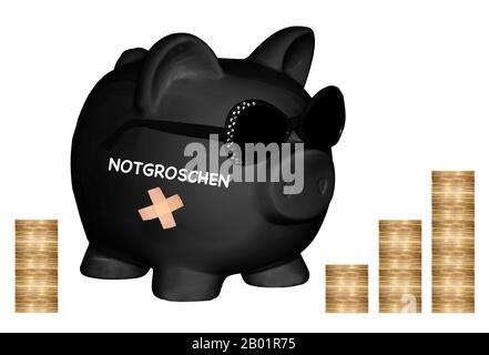 , black piggy bank with sunglasses and lettering Notgroschen, nest egg, coin piles in background, composing - Stock Photo