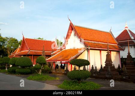 Wat Plai Klong, also known as Wat Buppharam, was built in 1652 (late Ayutthaya period) during the reign of King Prasat Thong (r. 1629 - 1656). It is the oldest temple in Trat. - Stock Photo