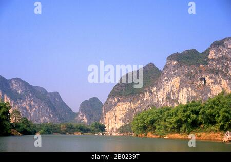 The Zuojiang or Zuo River (Chinese: 左江; pinyin: ZuǒJiāng; literally 'Left River') is a river in Guangxi Province, southern China. It flows into the South China Sea. - Stock Photo