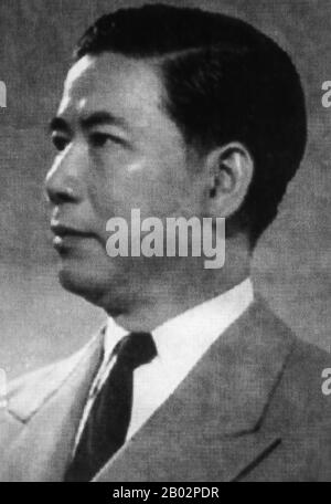 Ngo Dinh Diem (Vietnamese: Ngo Dinh Diem (January 3, 1901 – November 2, 1963) was the first President of South Vietnam (1955–1963). In the wake of the French withdrawal from Indochina as a result of the 1954 Geneva Accords, Diem led the effort to create the Republic of Vietnam.  Accruing considerable US support due to his staunch anti-Communism, he achieved victory in a 1955 plebiscite that was widely considered fraudulent. Proclaiming himself the Republic's first President, he demonstrated considerable political skill in the consolidation of his power, and his rule proved authoritarian, eliti - Stock Photo