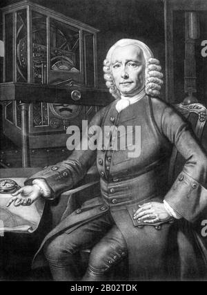 John Harrison (1693– 1776) was a self-educated English carpenter and clockmaker. He invented the marine chronometer, a long-sought after device for solving the problem of establishing the East-West position or longitude of a ship at sea, thus revolutionising and extending the possibility of safe long-distance sea travel in the Age of Sail. The problem was considered so important, that the British Parliament offered financial rewards of up to £20,000 (£2.75 million) under the 1714 Longitude Act. - Stock Photo