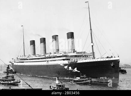 RMS Olympic was a transatlantic ocean liner, the lead ship of the White Star Line's trio of Olympic-class liners. Unlike her younger sister ships, Olympic enjoyed a long and illustrious career, spanning 24 years from 1911 to 1935.  This included service as a troopship during the First World War, which gained her the nickname 'Old Reliable'. Olympic returned to civilian service after the war and served successfully as an ocean liner throughout the 1920s and into the first half of the 1930s, although increased competition. - Stock Photo