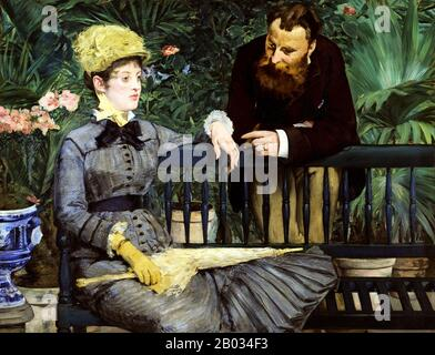 In the Conservatory is an 1879 oil painting by Edouard Manet held by the Alte Nationalgalerie, Berlin. The painting was exhibited in the 1879 Paris Salon.  In 1896 In the Conservatory was bought by the Deutsche Nationalgalerie in Berlin. - Stock Photo