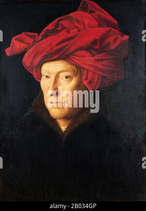 Jan van Eyck was an Early Netherlandish painter active in Bruges and one of the most significant Northern Renaissance artists of the 15th century.  In addition to the Ghent Altarpiece and the illuminated miniatures of the Turin-Milan Hours, about 20 surviving paintings are confidently attributed to him, all dated between 1432 and 1439. - Stock Photo