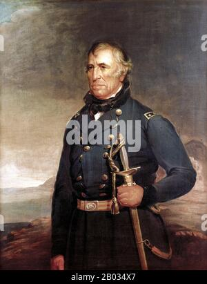 Zachary Taylor (November 24, 1784 – July 9, 1850) was the 12th President of the United States, serving from March 1849 until his death in July 1850. Before his presidency, Taylor was a career officer in the United States Army, rising to the rank of major general.  Taylor's status as a national hero as a result of his victories in the Mexican-American War won him election to the White House. His top priority as president was preserving the Union, but he died seventeen months into his term, before making any progress on the status of slavery, which had been inflaming tensions in Congress. - Stock Photo