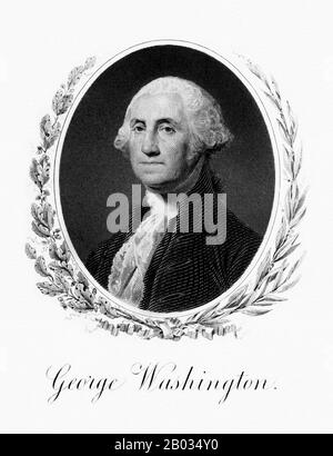 George Washington (February 22, 1732 – December 14, 1799) was the first President of the United States (1789–97), the Commander-in-Chief of the Continental Army during the American Revolutionary War, and one of the Founding Fathers of the United States.  He presided over the convention that drafted the current United States Constitution and during his lifetime was called the 'father of his country'. - Stock Photo