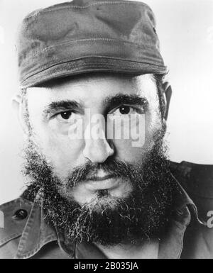 Fidel Alejandro Castro Ruz (born August 13, 1926) is a Cuban political leader and former communist revolutionary.  As the primary leader of the Cuban Revolution, Castro served as the Prime Minister of Cuba from February 1959 to December 1976, and then as the President of the Council of State of Cuba and the President of Council of Ministers of Cuba until his resignation from the office in February 2008. He served as First Secretary of the Communist Party of Cuba from the party's foundation in 1961. - Stock Photo