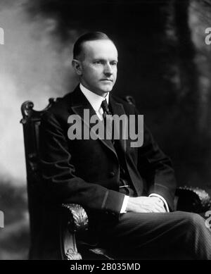 John Calvin Coolidge Jr. (July 4, 1872 – January 5, 1933) was the 30th President of the United States (1923–29). A Republican lawyer from Vermont, Coolidge worked his way up the ladder of Massachusetts state politics, eventually becoming governor of that state.  He was elected as the 29th vice president in 1920 and succeeded to the presidency upon the sudden death of Warren G. Harding in 1923. Elected in his own right in 1924, he gained a reputation as a small-government conservative.  Coolidge's retirement was relatively short, as he died at the age of 60 in January 1933, less than two months - Stock Photo