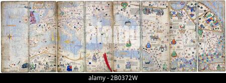 The Catalan Atlas (1375) is the most important Catalan map of the medieval period. It was produced by the Majorcan cartographic school and is attributed to Cresques Abraham, a Jewish book illuminator who was self-described as being a master of the maps of the world as well as compasses. It has been in the royal library of France (now the Bibliotheque nationale de France) since the late 14th century. Stock Photo