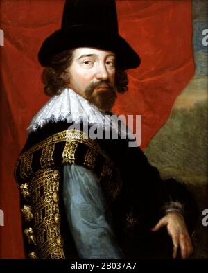 Francis Bacon, 1st Viscount St Alban, (22 January 1561 – 9 April 1626) was an English philosopher, statesman, scientist, jurist, orator, and author.  He served both as Attorney General and as Lord Chancellor of England. After his death, he remained extremely influential through his works, especially as philosophical advocate and practitioner of the scientific method during the scientific revolution. - Stock Photo