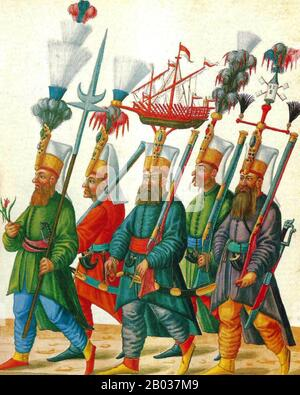 The Janissaries were elite infantry units that formed the Ottoman Sultan's household troops, bodyguards and the first standing army in Europe. The corps was most likely established during the reign of Murad I (1362–89). - Stock Photo