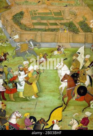 The Padshahnama is a genre of works written to visually record the reign of Mughal Emperor Shah Jahan (5 January 1592  – 22 January 1666). The historical volumes were written by multiple authors, including Muhammad Amin Qazvini, Jalaluddin Tabatabai and Abdul Hamid Lahori, the latter having written the most significant works of the genre. - Stock Photo