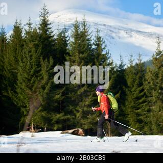 Man skiing with a backpack on a background of forest and snow-capped mountains at sunny day. Ski season and winter sports concept - Stock Photo