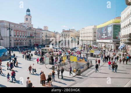 Puerta del Sol, view from above. Madrid, Spain. - Stock Photo