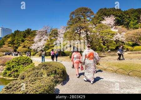 4 April 2019: Tokyo, Japan - Kimono wearing tourists in Shinjuku Gyoen Park, one of the most famous parks in Japan, in Cherry Blossom season. - Stock Photo