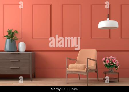 vibrant orange interior design background with peach colored armchair, lamp and cofee table with roses on modern moulding wall, 3d render - Stock Photo