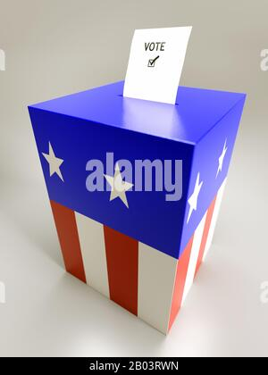 Voting card half-inserted into ballot box painted in american flag star and stripe colors over light gray background - Stock Photo