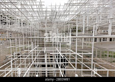 The Cloud Pavilion art installation designed by Architect Sou Fujimoto, near the Skanderbeg Square, in Tirana, Albania - Stock Photo