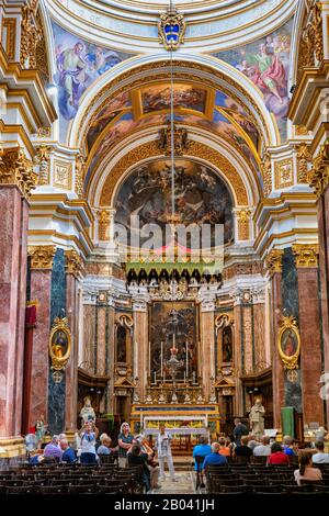 Metropolitan Cathedral of Saint Paul in city of Mdina, Malta, Baroque interior, high altar - Stock Photo