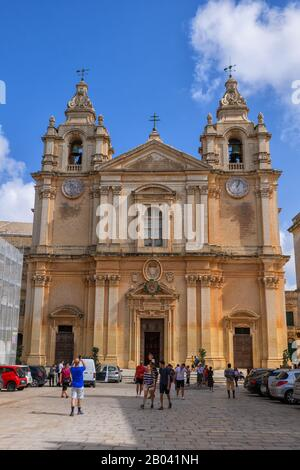Metropolitan Cathedral of Saint Paul in city of Mdina in Malta, Baroque style architecture. - Stock Photo