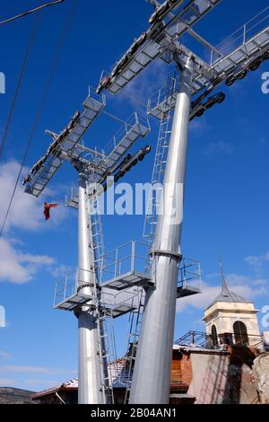Carrier parts of the cable car under construction in Kastamonu Clock Tower - Stock Photo