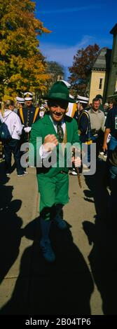 Portrait of a mid adult man in a parade marching band, University Of Notre Dame, South Bend, Indiana, USA - Stock Photo