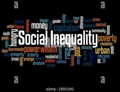 Social Inequality word cloud concept on black background.