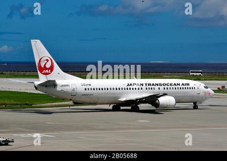 Japan Transocean Air, JTA, Boeing, B-737/400, JA8993, Taxiing, Naha Airport,  Naha, Okinawa Island, Ryukyu Islands, Japan
