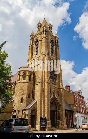 Cambridge, JUL 10: Exterior view of the Emmanuel United Reformed Church on JUL 10, 2011 at Cambrdige, United Kingdom - Stock Photo