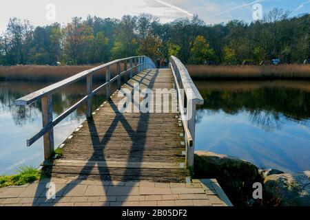 wooden bridge at the Firth of Flensburg, Germany, Schleswig-Holstein, Quellental, Gluecksburg - Stock Photo