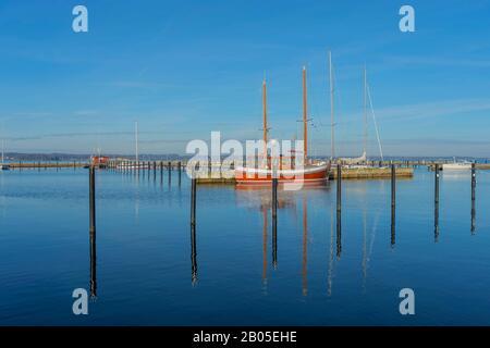 Firth of Flensburg with boat bridge, Germany, Schleswig-Holstein, Quellental, Gluecksburg - Stock Photo