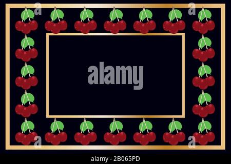 Gold frame cherry tea, wine or alcohol label package. Fruit tag for food products,juice, jam, ice cream, smoothies,yogurt,soap, cosmetics.Stock vector - Stock Photo