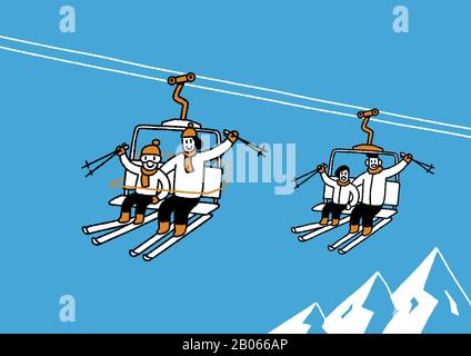 Winter family, enjoy the winter season together illustration 009 - Stock Photo