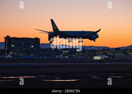 Richmond, British Columbia, Canada. 18th Feb, 2020. An EVA Air Boeing 787-9 Dreamliner (B-17883) wide-body jet lands at sunset, Vancouver International Airport. Credit: Bayne Stanley/ZUMA Wire/Alamy Live News - Stock Photo