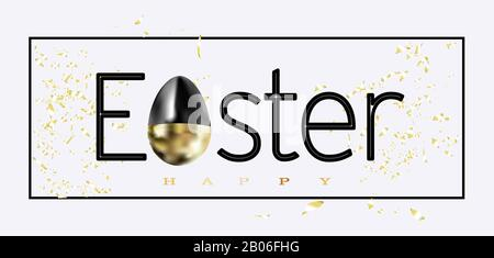 Happy easter lettering background with realistic golden glitter decorated eggs, confetti, golden brush splash. illustration for greeting card, announc
