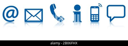 Contact Us, set of six blue colored icons with reflection