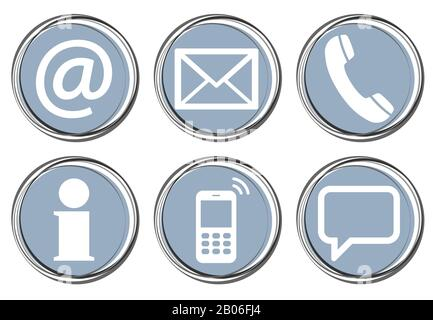 Contact Us, set of six white icons in round colored buttons Stock Photo