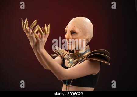 Fantastic Reptilian Girl. Creative Make up like Alien or Superhero Movie. - Stock Photo