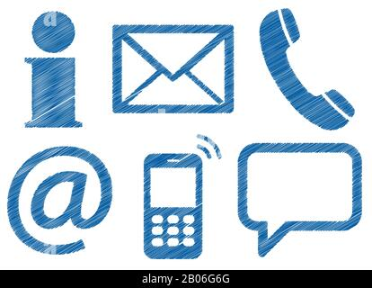 Contact Us, set of six colored scribble design icons isolated on white background Stock Photo