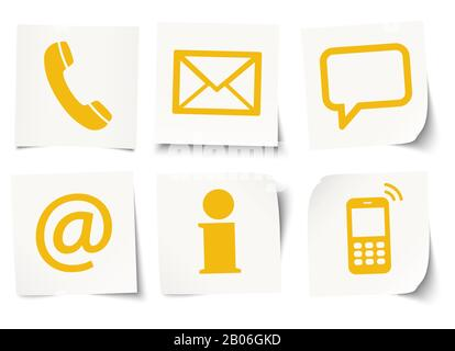 Contact Us, set of six colored icons on sticky notes