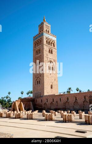 Koutoubia mosque from 12th century in old town of Marrakech, Morocco - Stock Photo