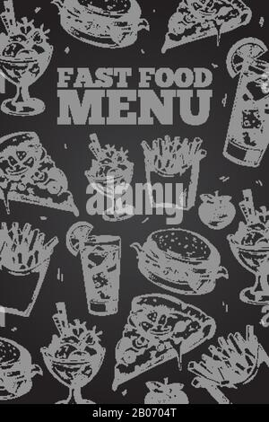 Hand drawn vector fast food on chalkboard in vintage style elements for restaurant menu. Hamburger and cheeseburger, pizza and ice cream illustration - Stock Photo