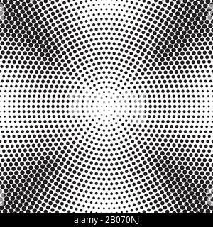 Abstract radial dotted halftone background vector. Pattern with black dots illustration - Stock Photo